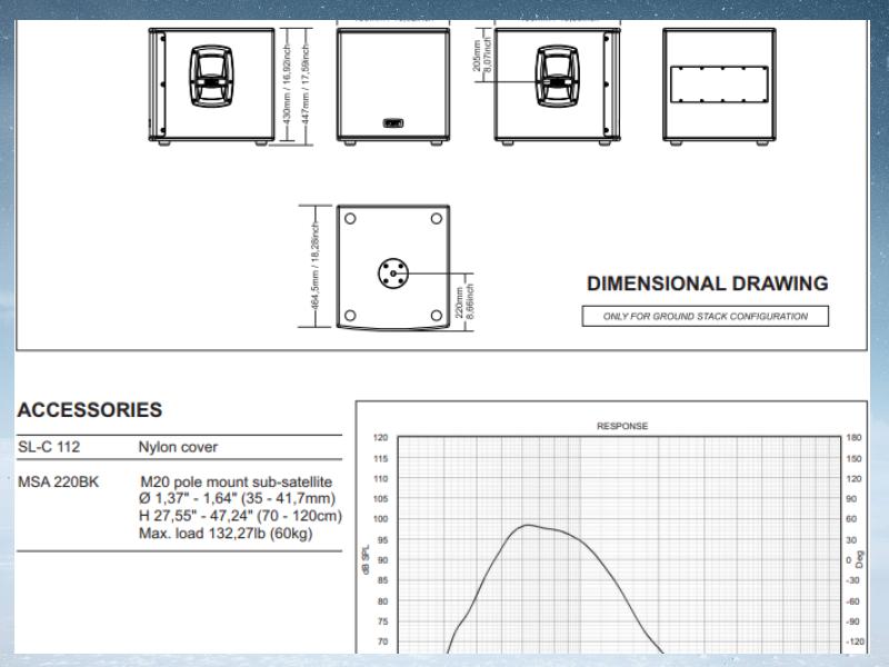 Bản vẽ mô tả thiết kế loa FBT SUBLINE 112SA