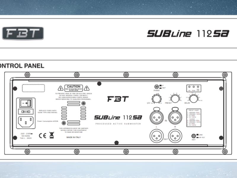 Mặt sau của loa FBT Subline 112SA có đầy đủ jack cắm, đầu vào và đầu ra