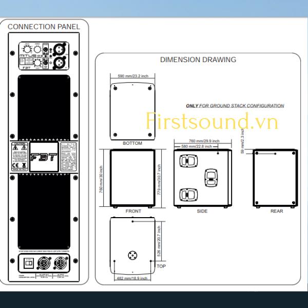 Bảng vẽ mô tả thiết kế cấu trúc của loa FBT MITUS 121SA