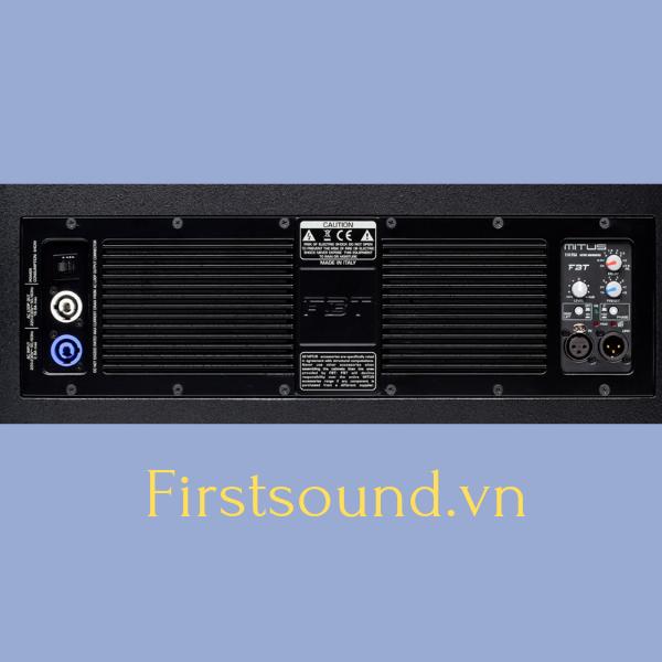 Mặt sau của loa FBT MITUS 118FSA có đầy đủ jack cắm và volume điều chỉnh âm thanh