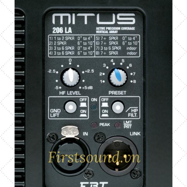 Mặt sau của loa MITUS 206 LA có đầy đủ jack cắm và nút volume điều chỉnh