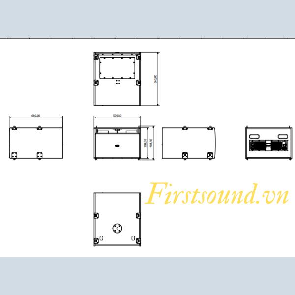 Bản vẽ mô tả chi tiết cấu trúc thiết kế của loa FBT MITUS 212FSA