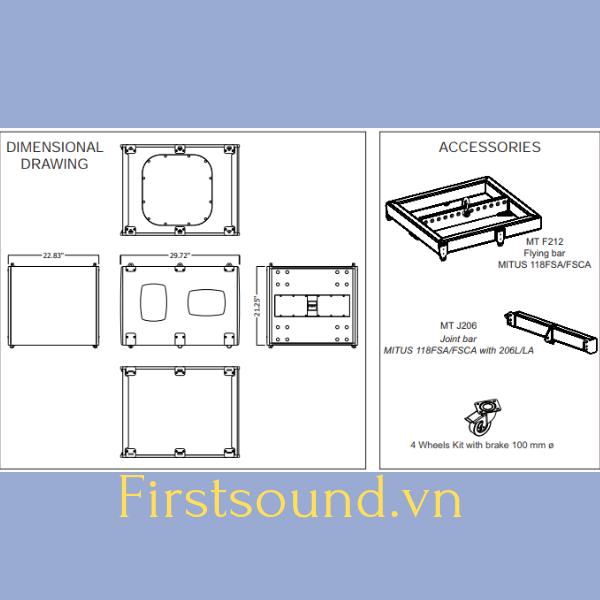 Bản vẽ mô tả cấu trúc thiết kế của loa FBT MITUS 118FSA
