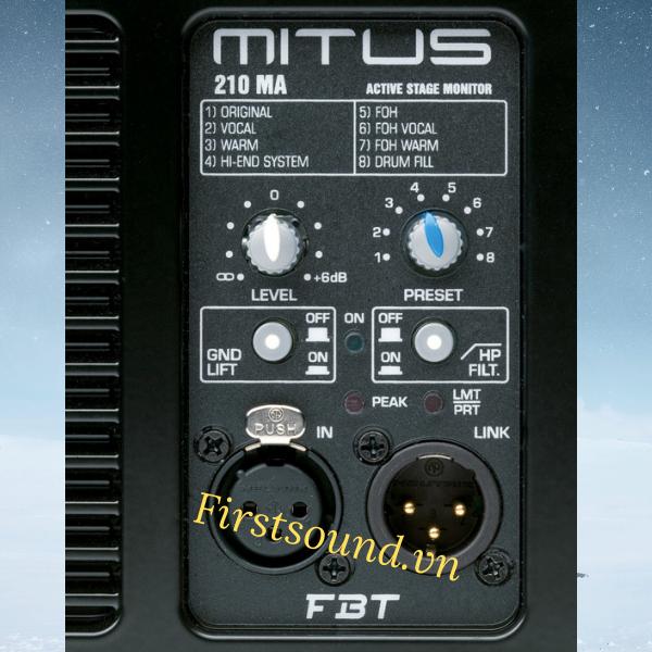 Mặt sau của loa FBT MITUS 210MA có đầy đủ jack cắm và volume điều chỉnh