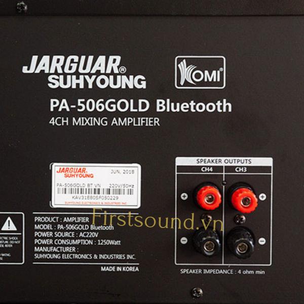 Mặt sau amply Jarguar PA-203 Gold Bluetooth có đầy đủ jack cắm