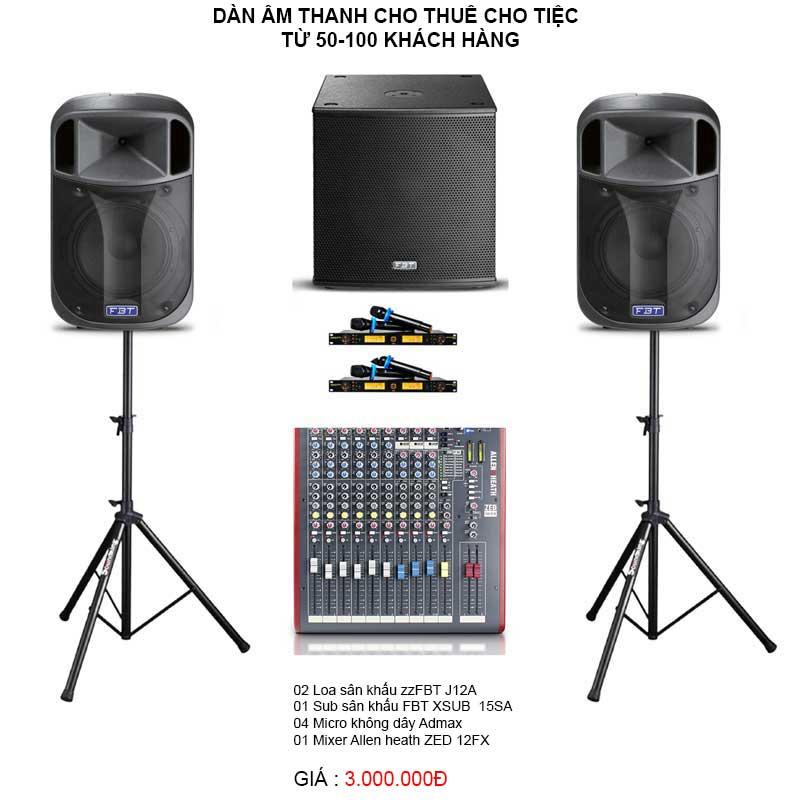 Dàn âm thanh cho thuê cho tiệc từ 50-100 khách hàng