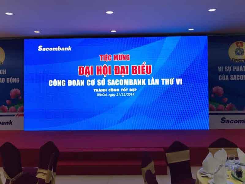 Cho thuê âm thanh ánh sáng màn hình led của Firstsound tại đại hội đại biểu Sacombank